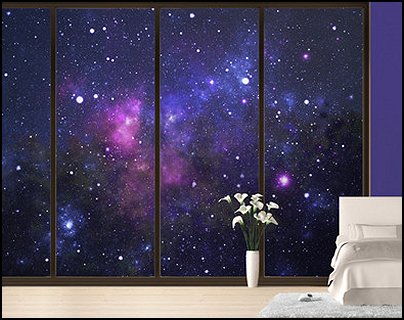 Decorating theme bedrooms maries manor celestial moon for Galaxy bedroom ideas