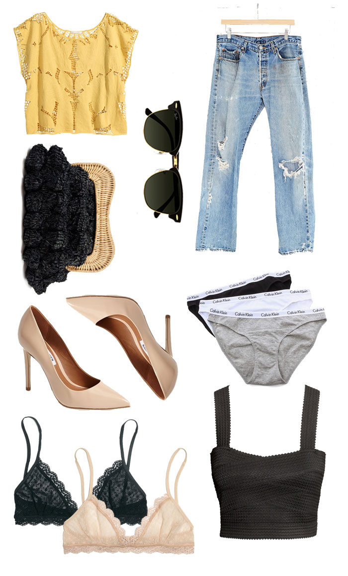 wardrobe basics, calvin klein underwear, women's must-haves, nude heels, nude pumps, h&m clothes, ray-ban club masters, levi 501s, levi jeans, levi jeans for women, distressed denim