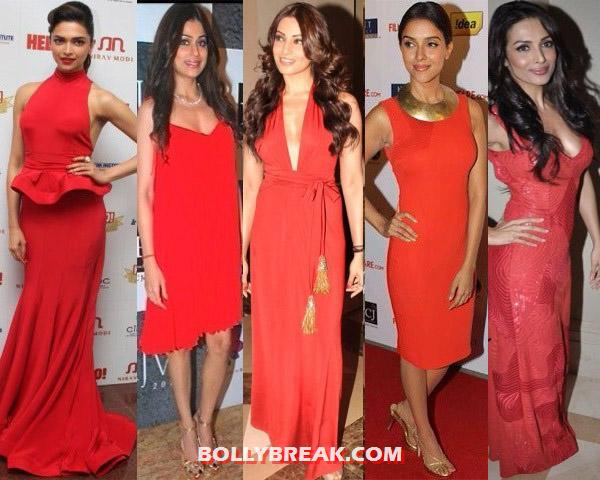 red outfits 2 - (2) - Bollywood Starlets in RED