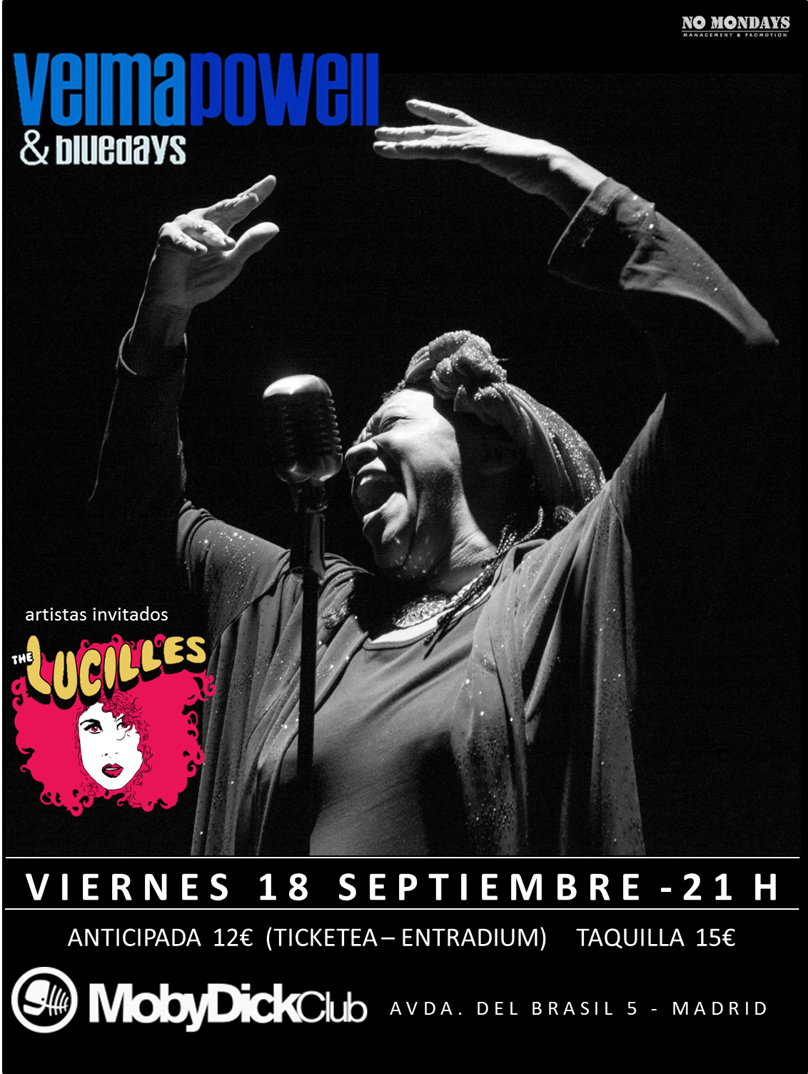 Velma Powell & Bluedays + The Lucilles - Moby Dick - 18/09/2015