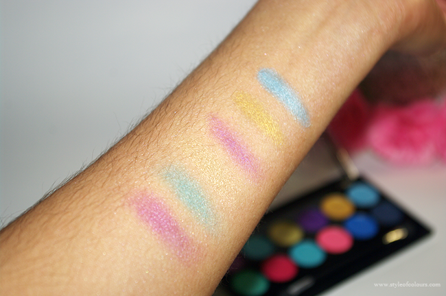 MUA Poptastic Swatches - First six colours