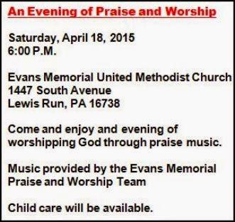 4-18 Evans Memorial Praise & Worshiip