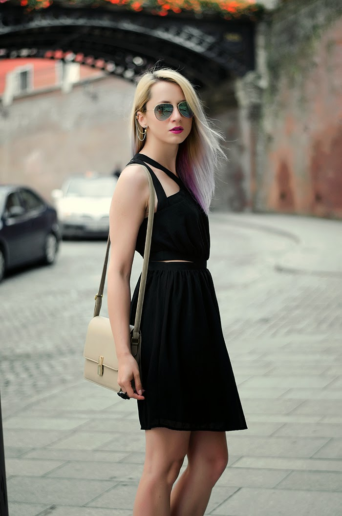 Mango black dress H&M mirror sunglasses