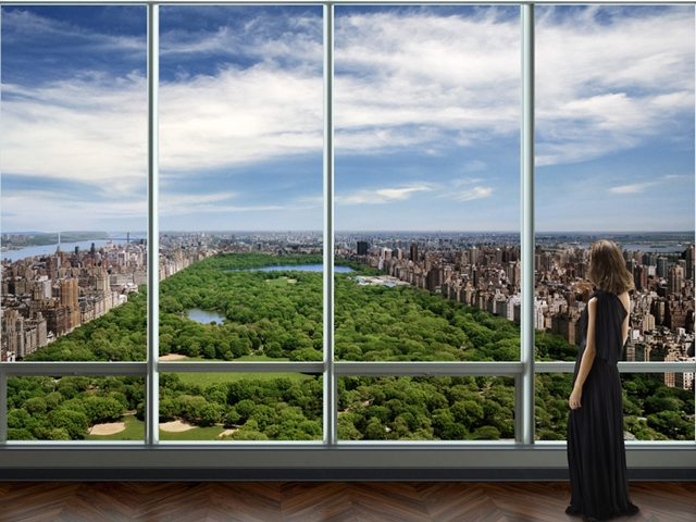 Rendering of future view of central park from one of the penthouses of One 57 by Christian de Portzamparc