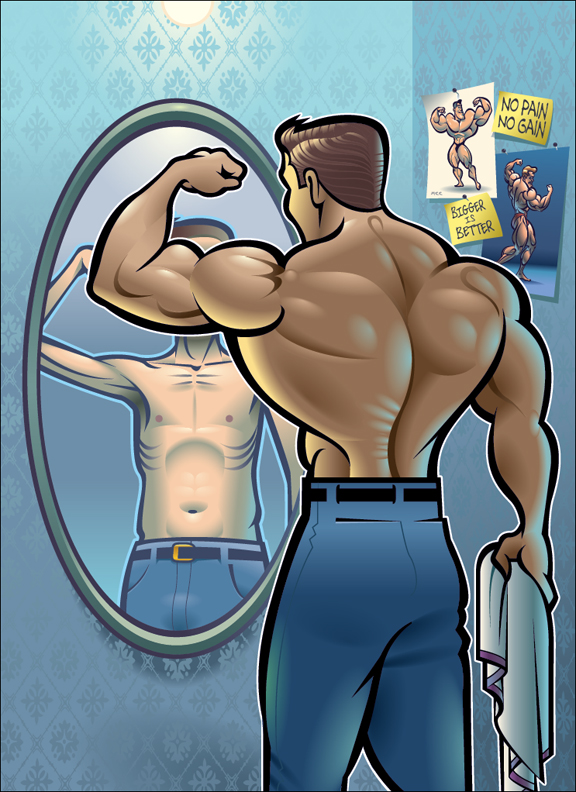 Ilustraciones de culturismo Bigorexia