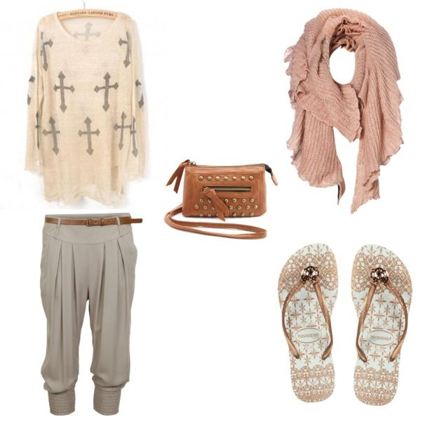 Summer to Fall transition outfit compilation, Havaiana Slim Lace sandals, Mini cross body purse, cross large sweater, grey Harem pants, large drappy scarf, style, fashion, Polyvore