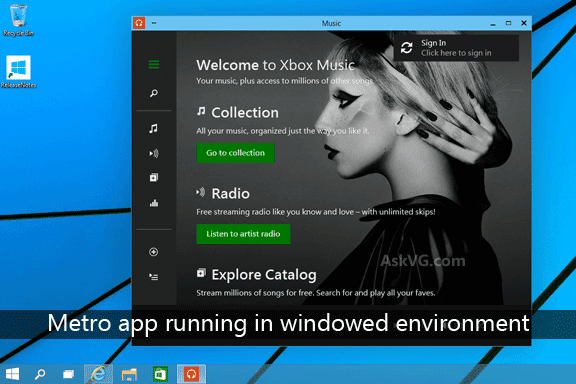 Aplikasi Metro (Modern) Berjalan Di Desktop dengan Mode Jendela