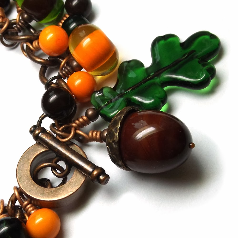 Lampwork glass 'Autumn' bracelet by Laura Sparling