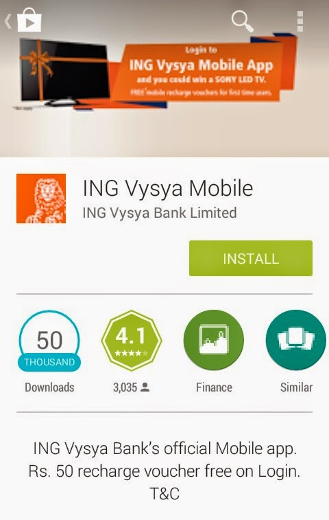 Free Rs 50 Recharge Voucher for Just Logging in to ING Vysya App