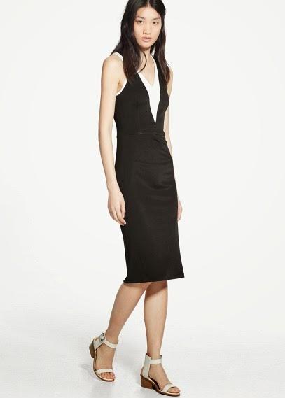 Mango 2015 Elbise Modelleri  askılı elbise, düz üstü elbise, siyah ve beyaz renk ofis ve günlük giyim için uygun