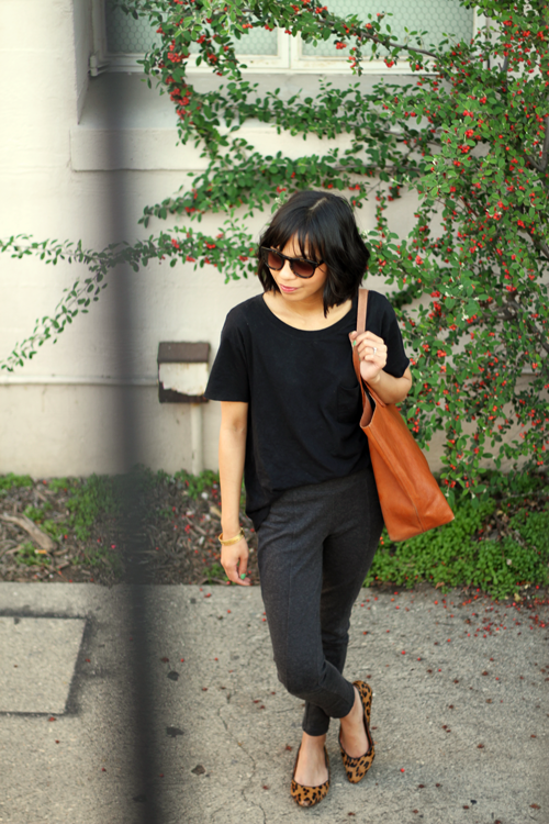 anthropologie, sunglasses, madewell, cutoff tee, transport tote, sidewalk skimmers, calf hair, uniqlo, ponte pants