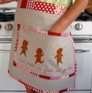 Free Gingerbread Man Embroidered Apron, Lark Crafts