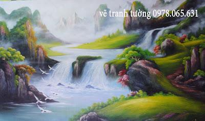vẽ tranh tường phong cảnh