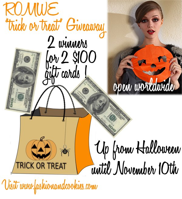 Romwe trick or treat giveaway ! Win 2 x $100 gift cards !