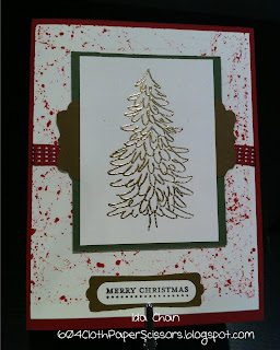 Evergreen Christmas Card, Marble Technique by Ida Chan, Vancouver