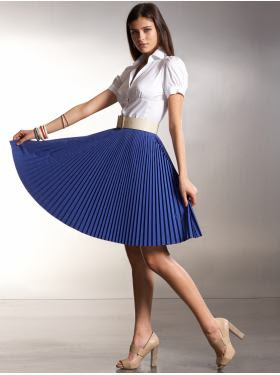 Model Colors Women Chiffon Pleated Skirt Vintage High Waist Tutu Skirts