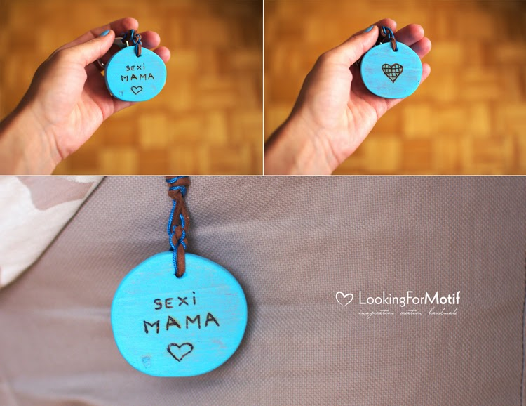 Drewniany brelok, Sexi MAMA, prezent, handmade by LFM