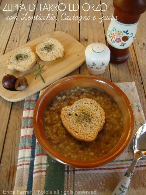 Ricetta zuppa di farro ed orzo con lenticchie, zucca e castagne