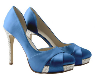Blue satin evening shoes with glitter high heel