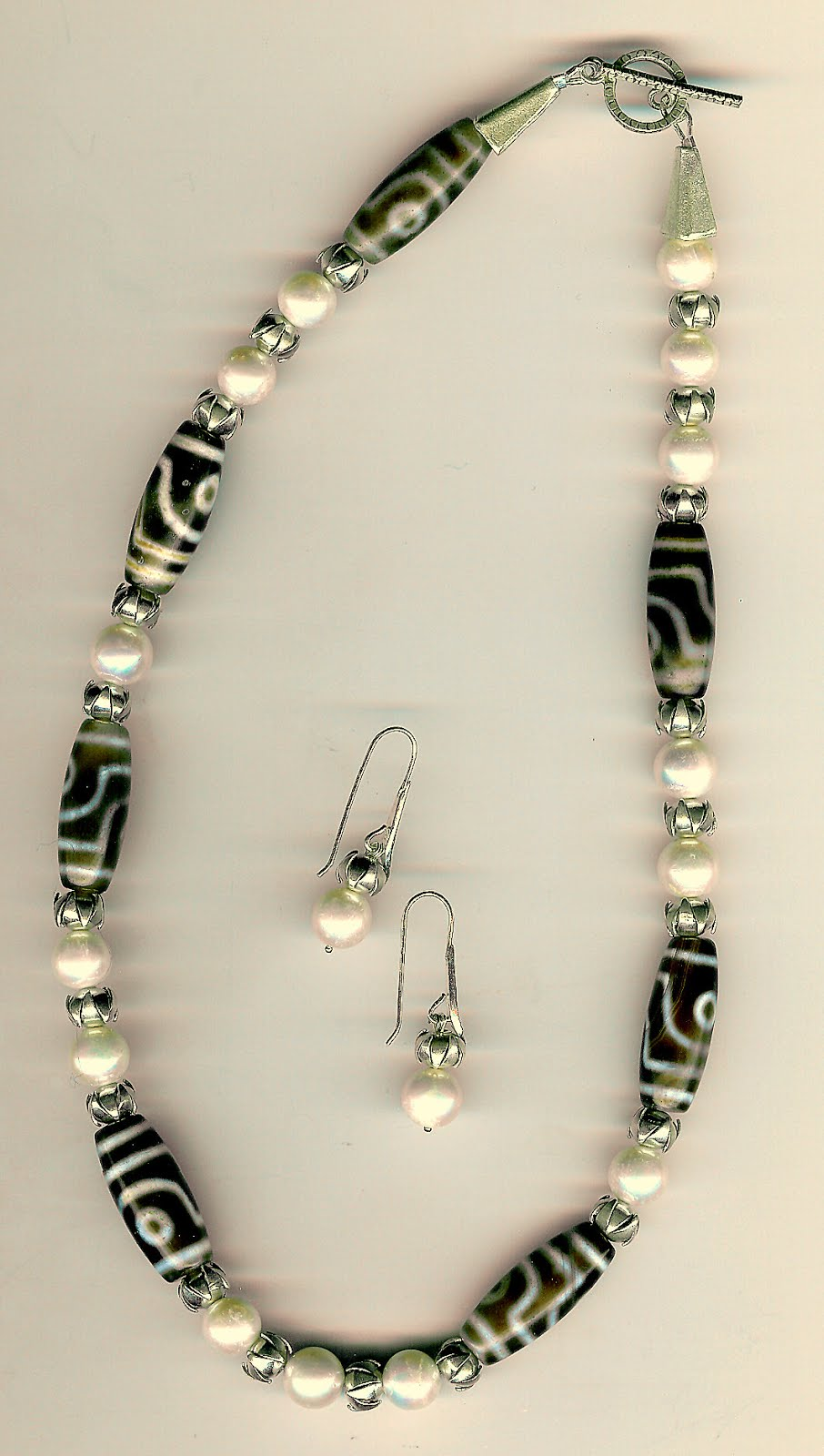 237. Thai Sterling Silver with Cultured Pearls and Tibetan Beads