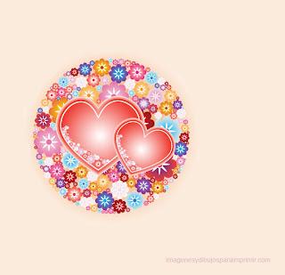 corazon con flores para imprimir