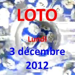 boules du LOTO - tirage du lundi 3 décembre 2012