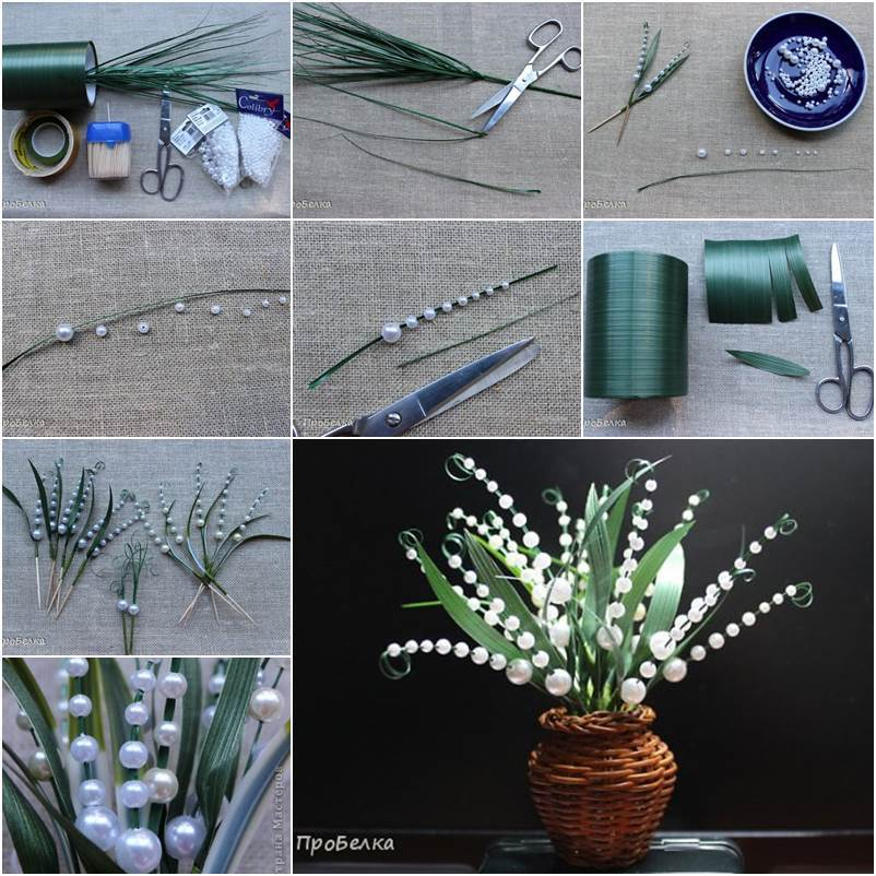 Beautiful beaded lily of the valley crazzy craft for Handicraft from waste things