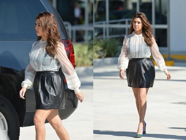 Get The Look: Kourtney Kardashian Leather Skirt