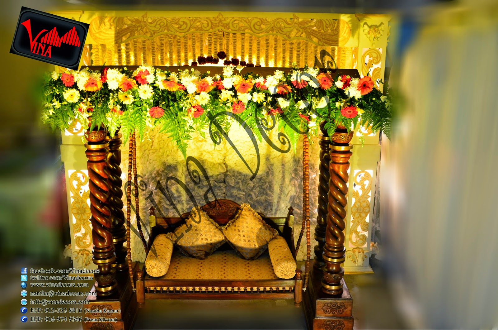 Indian Royal Swing Wedding in Malaysia with fresh flower Setting by Vina Canopy & Decor