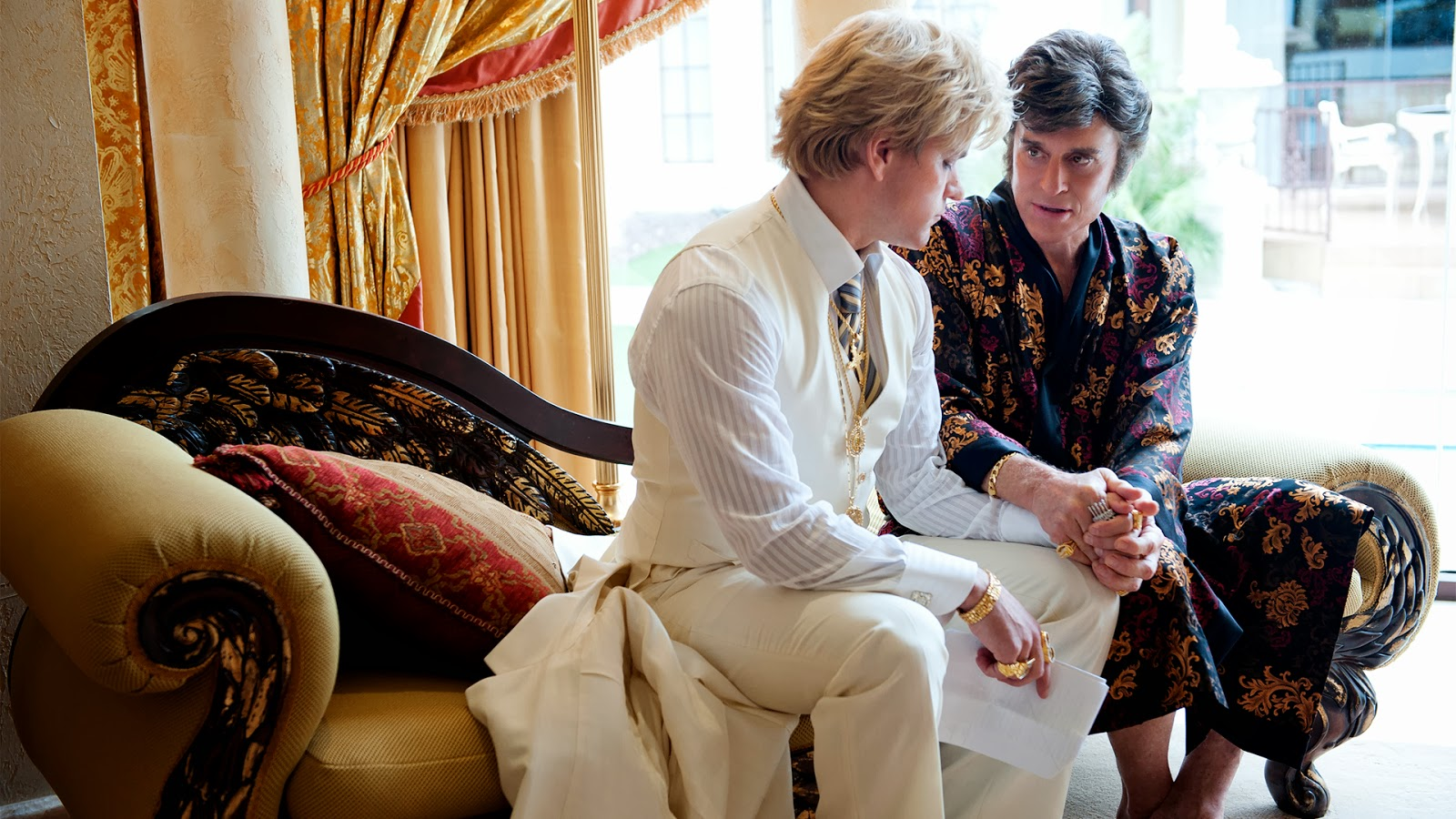 Matt Damon and Michael Douglas as Scott Thorson and Liberace in Behind the Candelabra