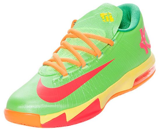 Nike KD 6 GS Candy Sneakers (Flash Lime/Atomic Red-Sonic Yellow-Gamma Green)