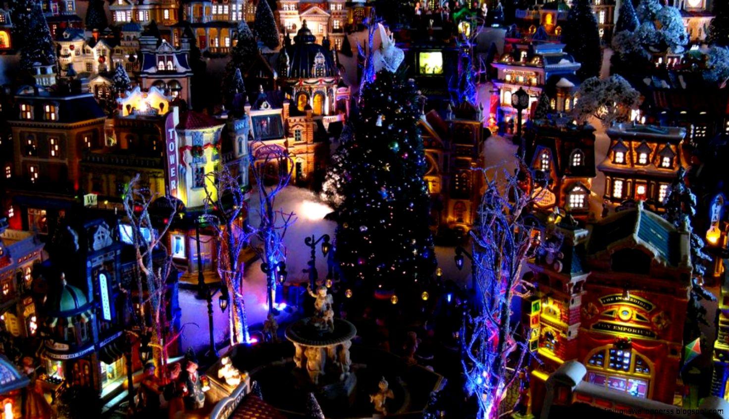 Wallpapers hd architecture christmas in town high - Christmas village wallpaper widescreen ...