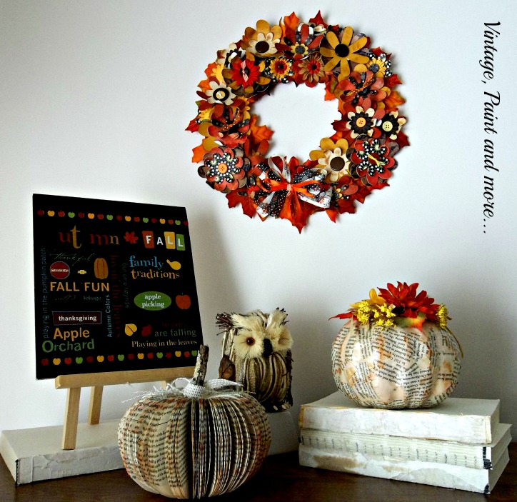Vintage, Paint and more... paper crafted pumpkins from old book pages