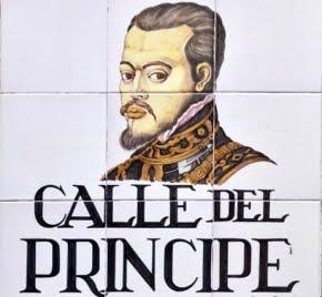 Felipe II (1556-1598) en la placa de la madrileña Calle del Príncipe