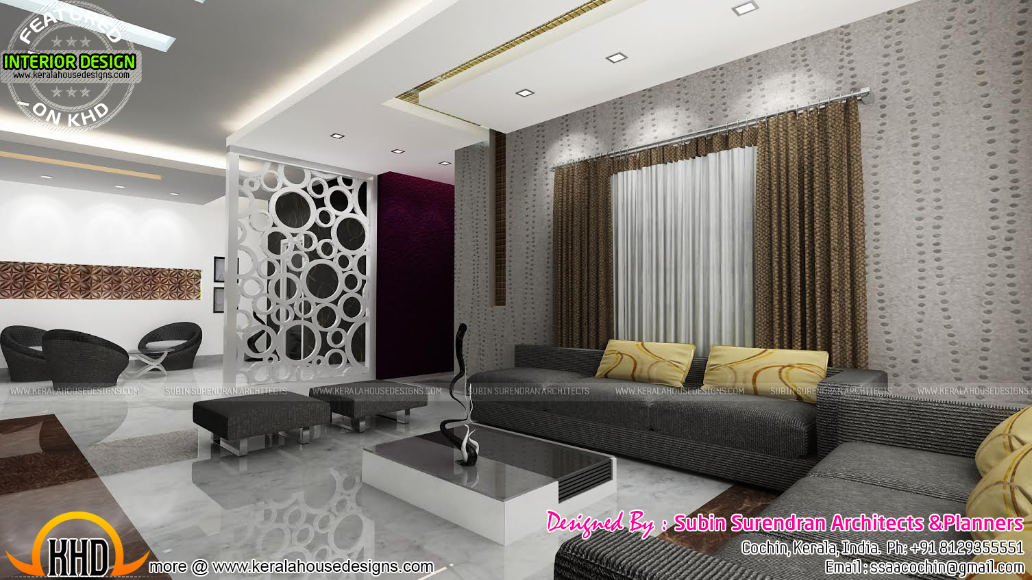 Living rooms modern kitchen interiors in kerala kerala for Kerala home living room designs