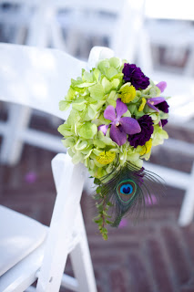 Peacock-themed Wedding Aisle Decor Flowers