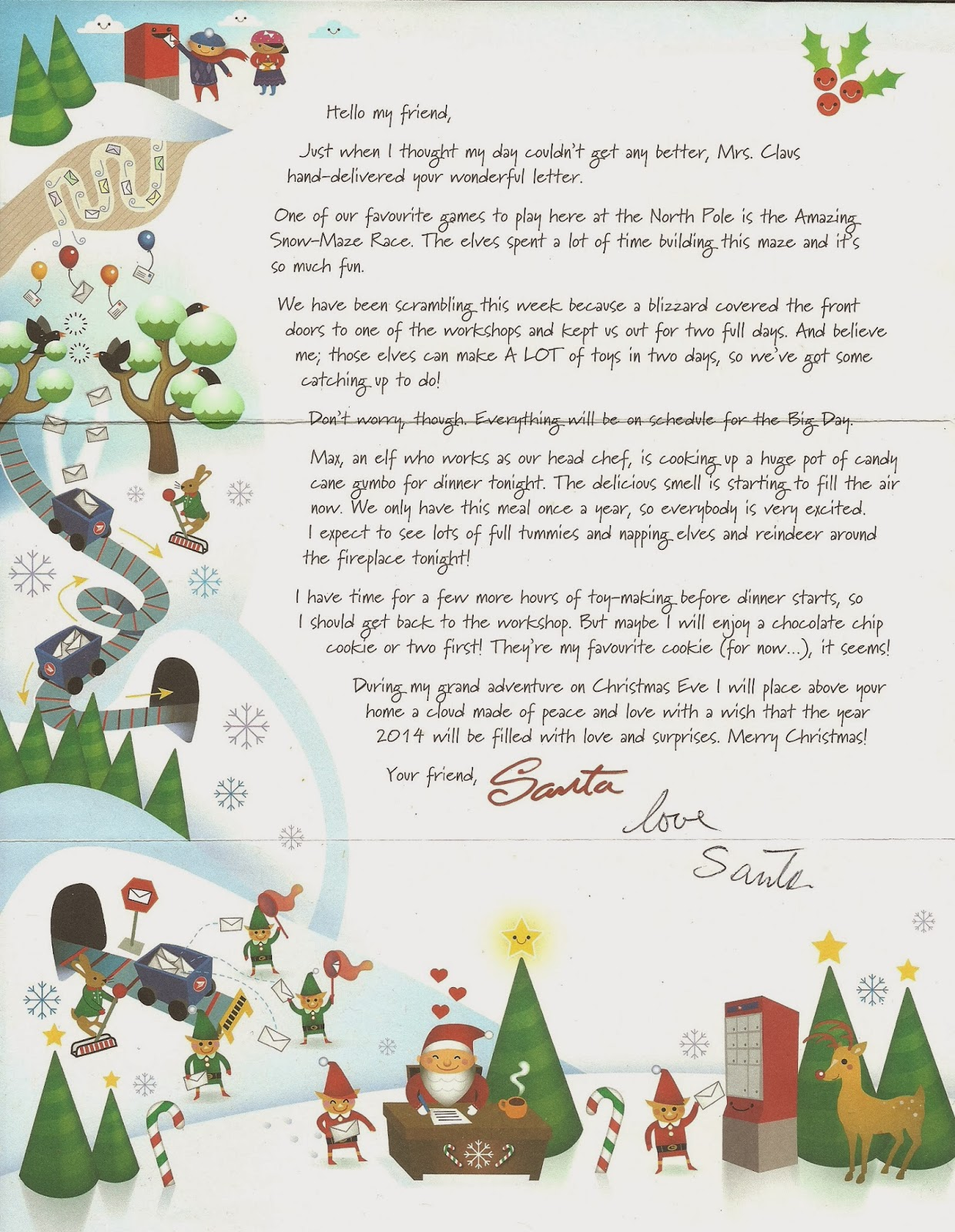 Interesting corner of me christmas 2013 christmas card from santa this is a printed letter from santa claus to tell me how he spends for his christmas spiritdancerdesigns Images