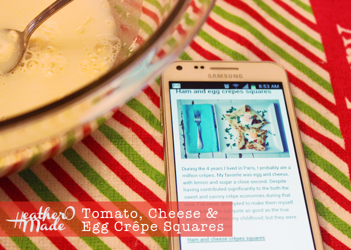 tomato cheese egg crepe squares. heatheromade recipes.