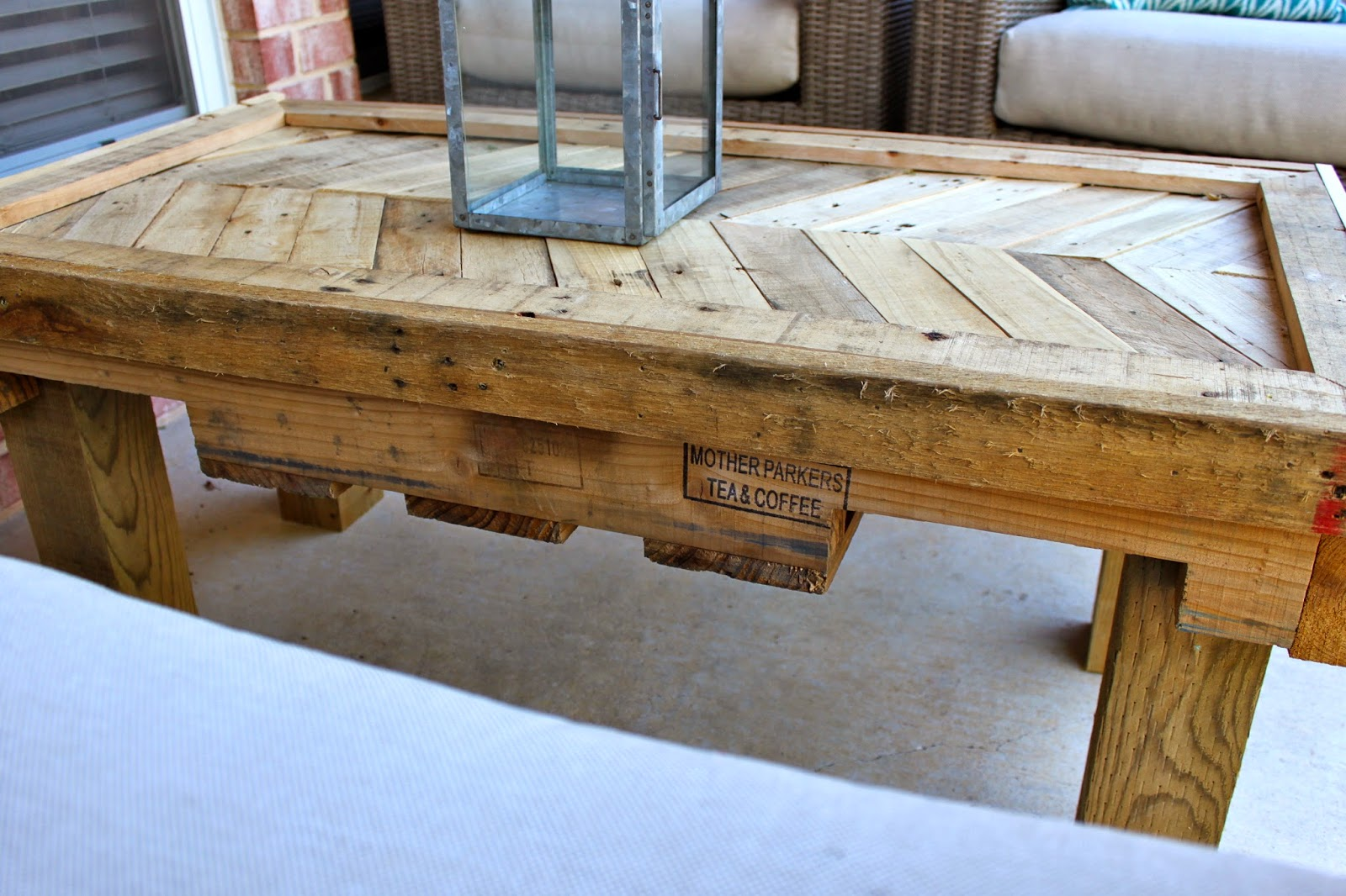 Chevron Pallet Coffee Table crafty texas girls: diy chevron pallet table