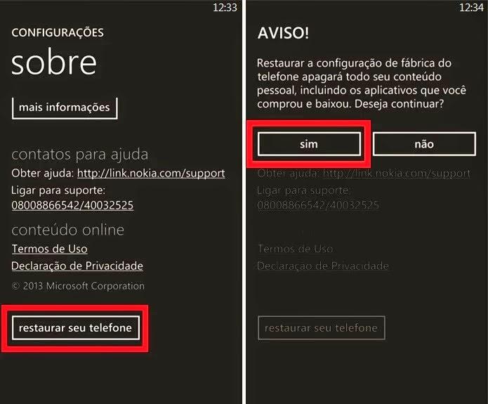 Como resetar o Nokia Lumia 530