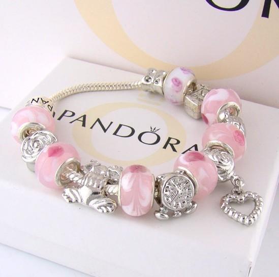 fashion jewelry show pandora silver bracelet with 7 beads