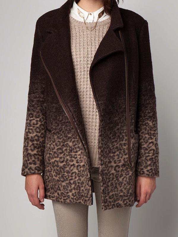 Leopard print coat Bershka