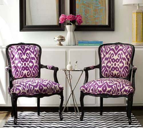 These purple Ikat chairs are uniquely contrasted by a black and white ...