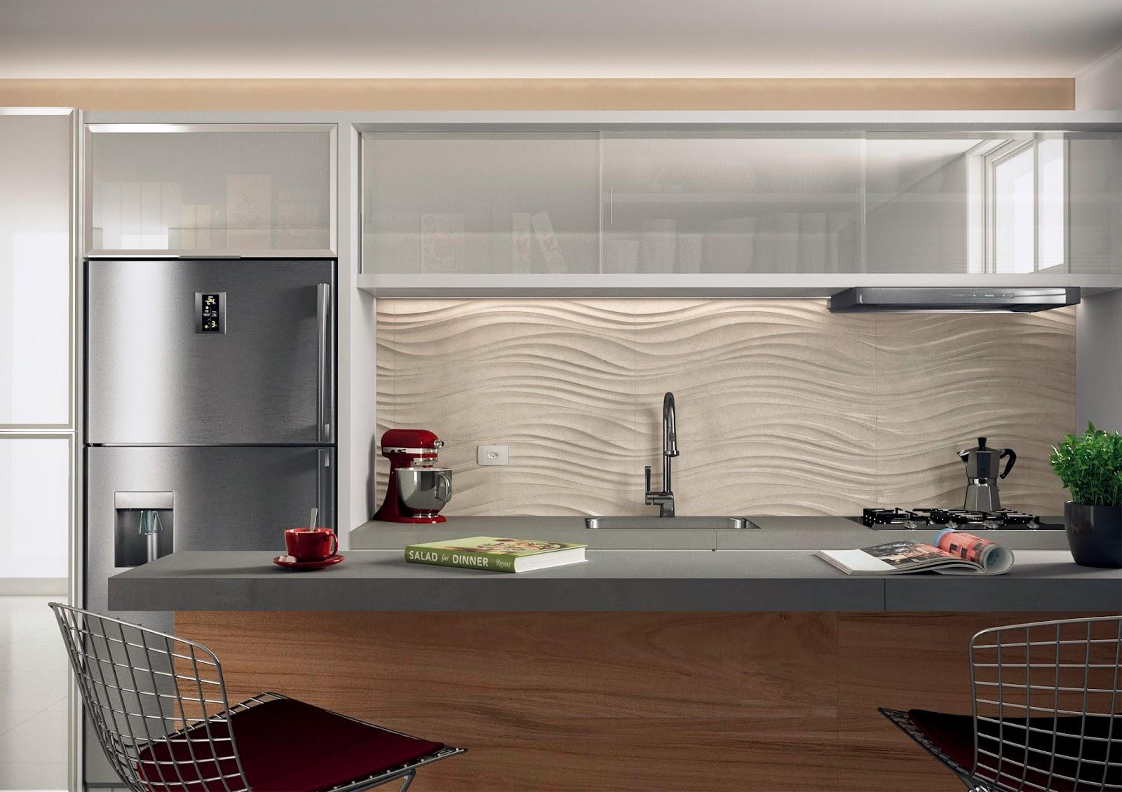projeto para cozinha com porcelanato Studio Limestone lançamentos  #61412F 1600 1130
