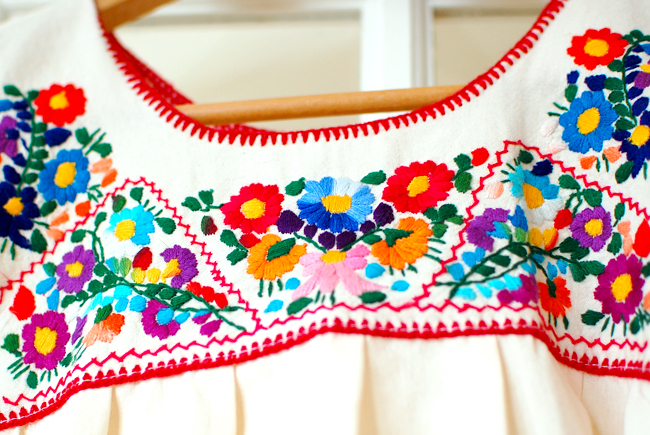 colorful threads embroidered peasant top from Mexico
