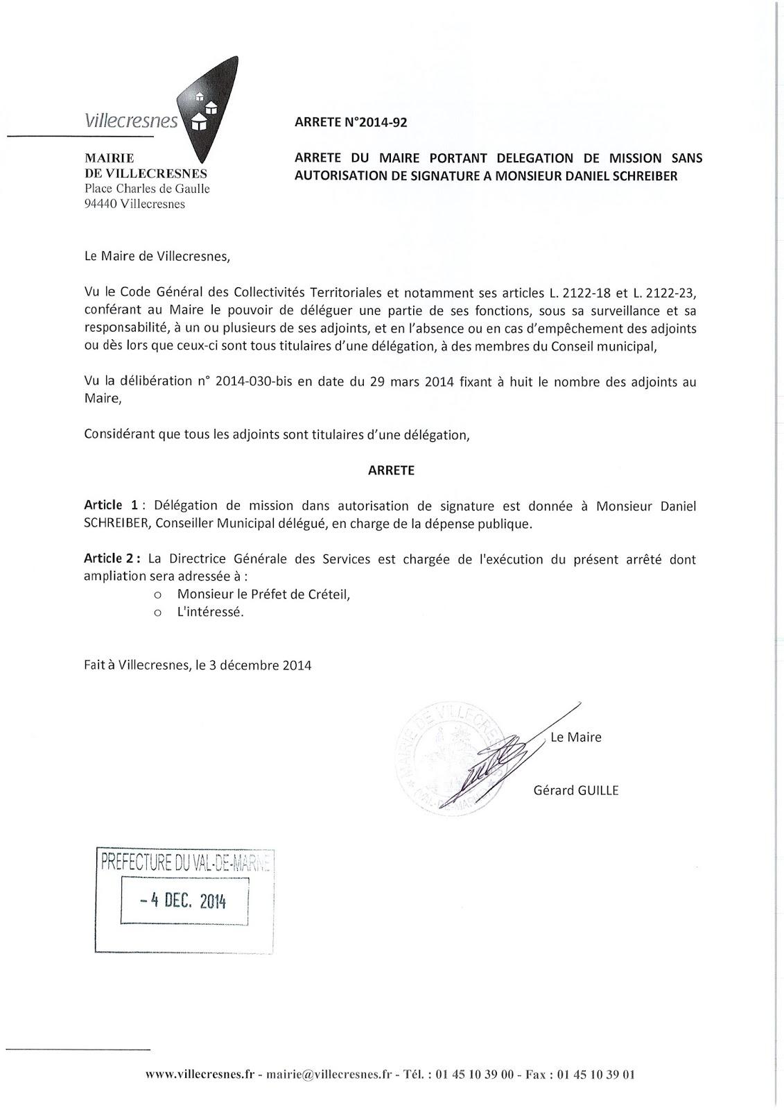 2014-092 Délégation de fonction mission sans autorisation de signature à Monsieur Daniel Schreiber
