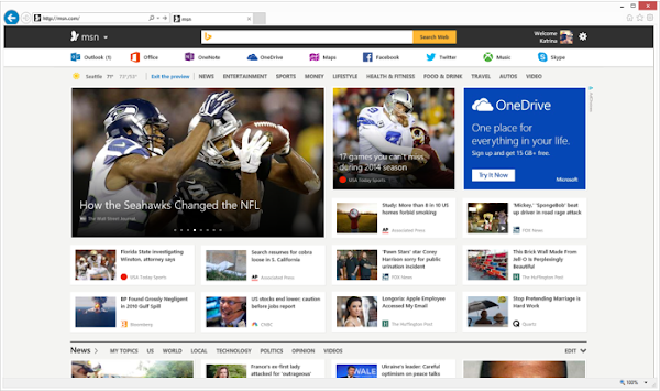 new MSN homepage