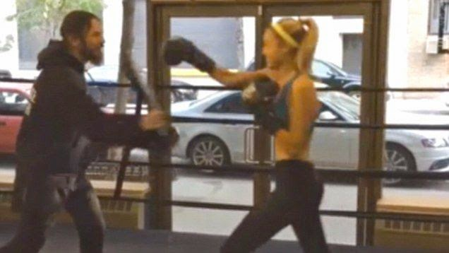 Where did the completed look come from? Gigi Hadid, 19, explored her another great skill with boxing activity in New York, USA on Thursday, October 16, 2014.