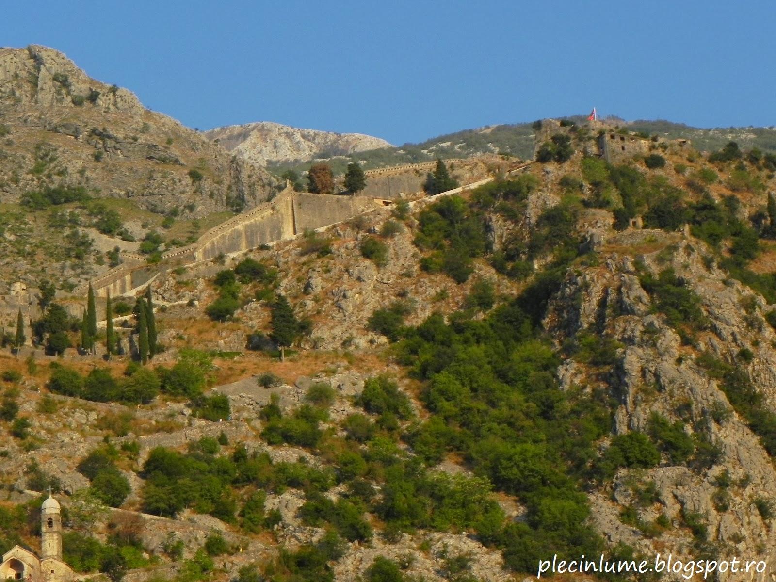 Zidurile cetatii vazute din Kotor