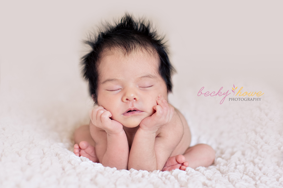 newborn photography girl froggy pose